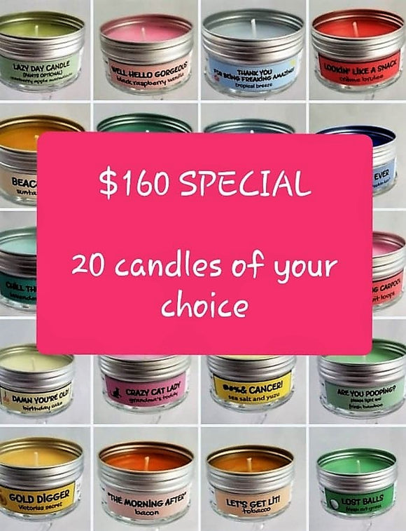 $160 for a 20 pack of Soulmate Scents funny travel candles