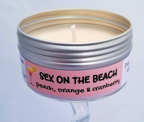 Sex on the Beach (Peach, Orange and Cranberry Cocktail) Soulmate Scents Travel Candle FREE SHIPPING!
