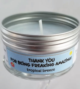 Thank you! (For being awesome!) Tropical Breeze scent Soulmate Scents Travel Candle FREE SHIPPING!