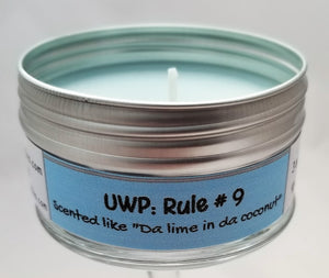 "UWP: Rule #9 (Scented like ""Da lime in da coconut"") Soulmate Scents Travel Candle FREE SHIPPING!"