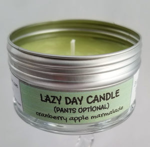 LAZY DAY (Pants Optional) - (Cranberry, apple and marmalade) FUNNY GIFT TRAVEL CANDLE