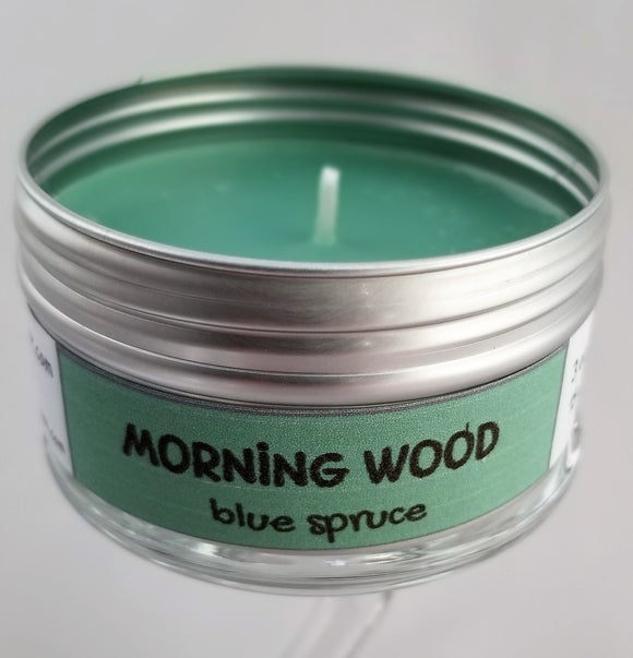 Morning Wood (blue spruce) Funny Intentionally Inappropriate Travel Candle