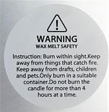Wax melt warning label for Intentionally Inappropriate travel candles by Soulmate Scents