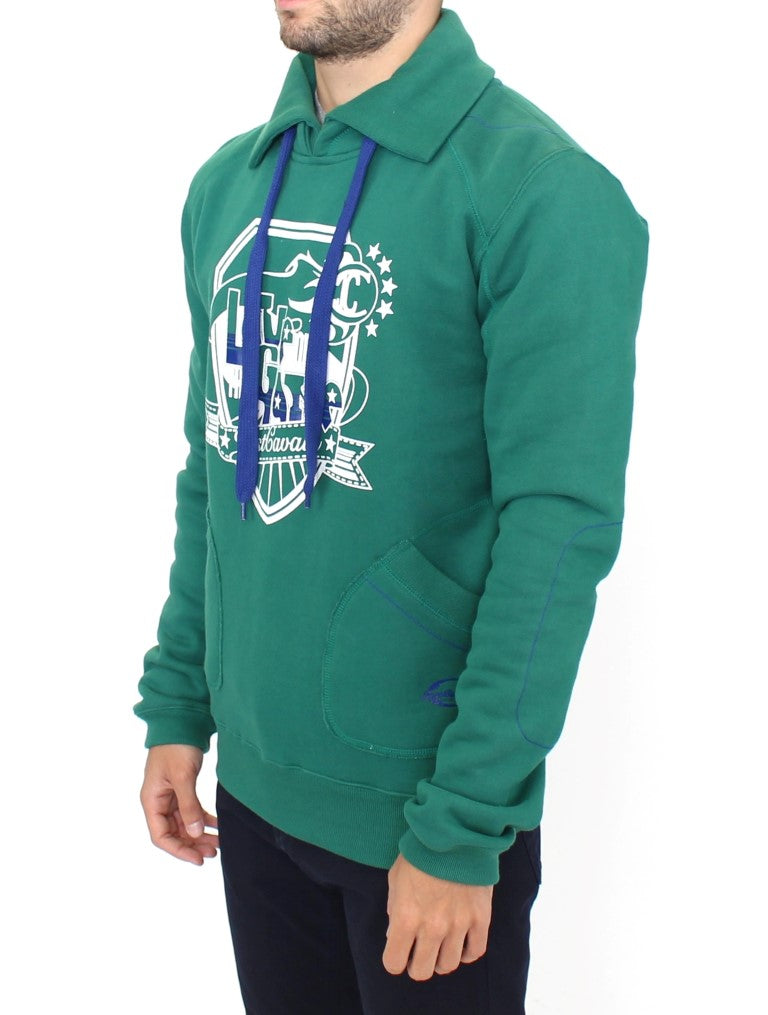 CAVALLI  Green Pullover Cotton Sweater For Men