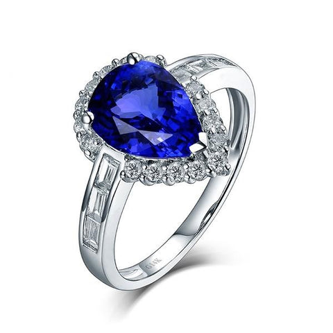 Elegant 1.99ct Pear Tanzanite 0.57ct Diamond Anniversary Ring 14Kt White Gold Jewelry