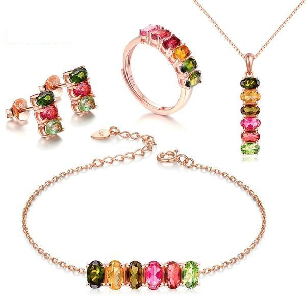 Dazzling 4PCS Tourmaline Gemstone Set Silver Jewelry