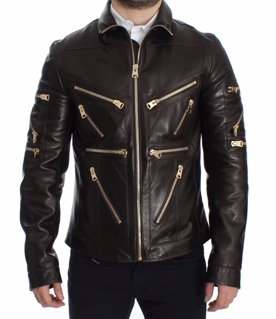 DOLCE & GABBANA  Brown Lambskin Leather Zipper Jacket
