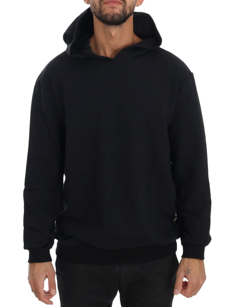 DANIELE ALESSANDRINI  Black Gym Casual Hooded Cotton Sweater For Men