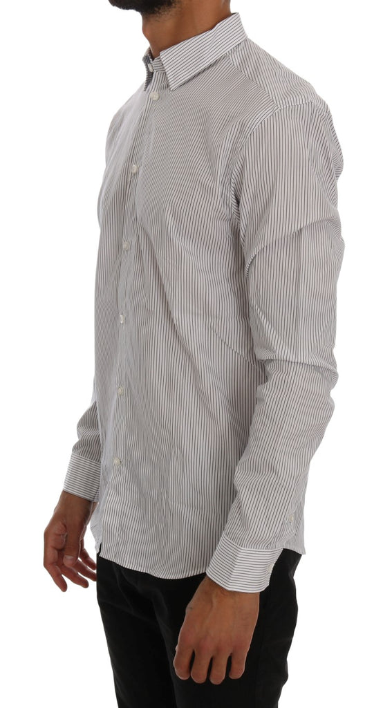 FRANKIE MORELLO  White Blue Striped Casual Cotton Regular Fit Shirt