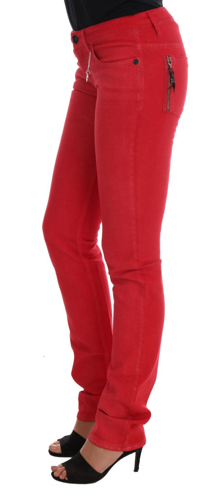 COSTUME NATIONAL  Red Cotton Stretch Slim  Women's Stretch Jeggings Jeans