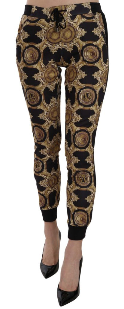 VERSACE JEANS  Black and Gold Printed Elasticated COUTURE Track-pants
