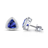 Dazzling 1.98ct Trillion Cut Tanzanite & Diamond Stud Earrings 18K Jewelry