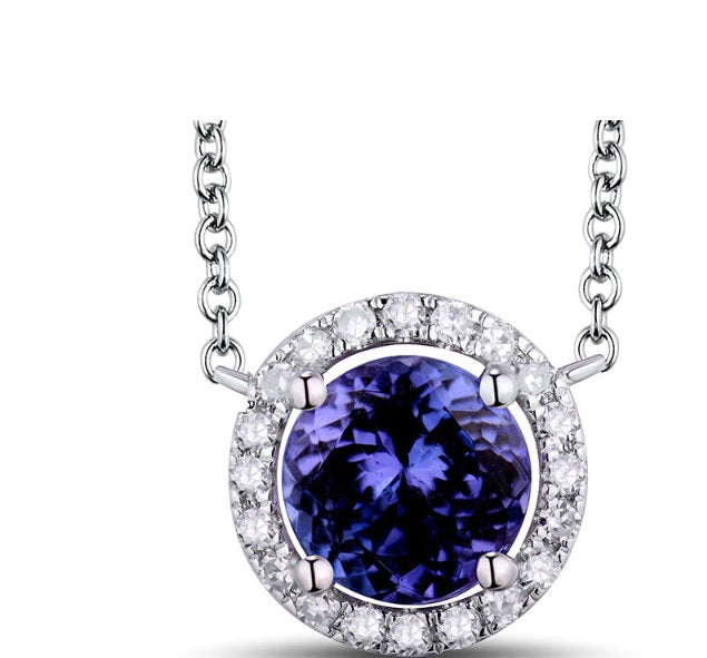Shiny! Diamond Tanzanite Pendant Necklace With Chain 18kt White Gold