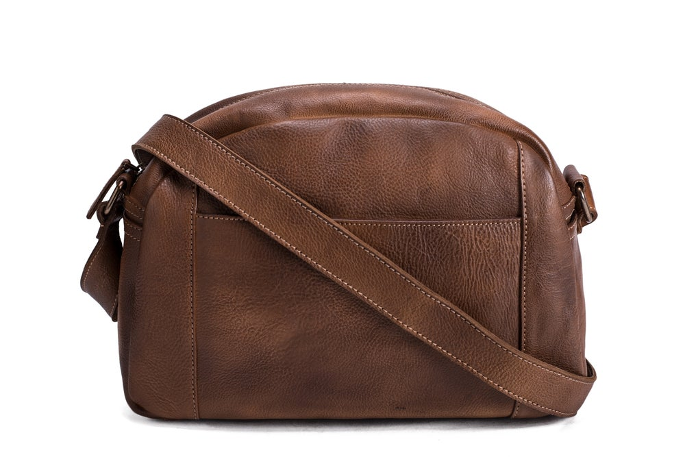 Handmade Vegetable Tanned Leather Men's Messenger Bag