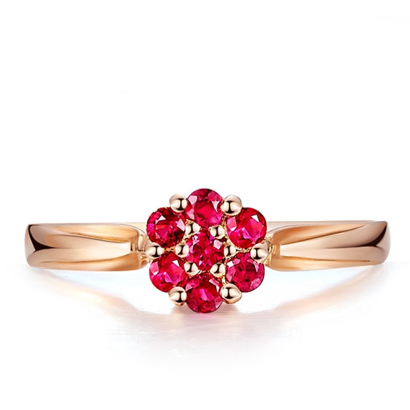 STUNNING! 18K Rose Gold Ruby Halo Ring Engagement Jewelry