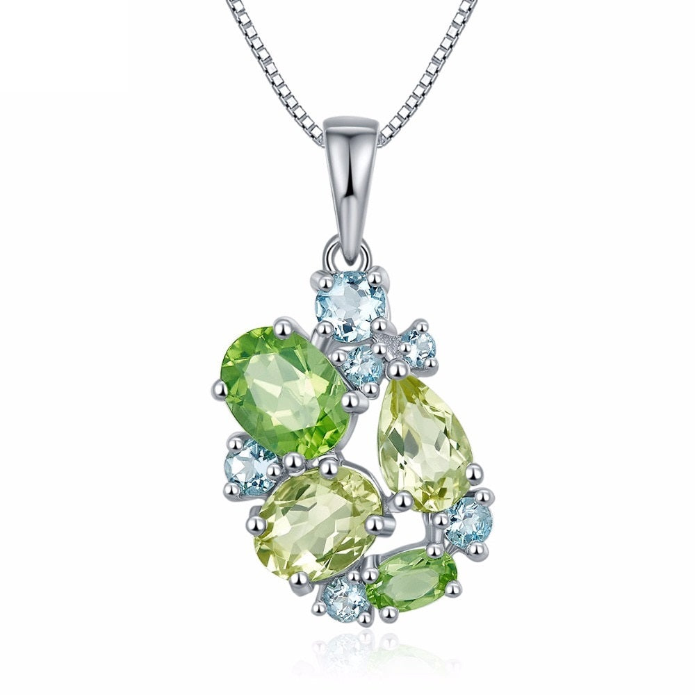 Peridot Lemon Quartz  Aquamarine Silver Pendant Necklace