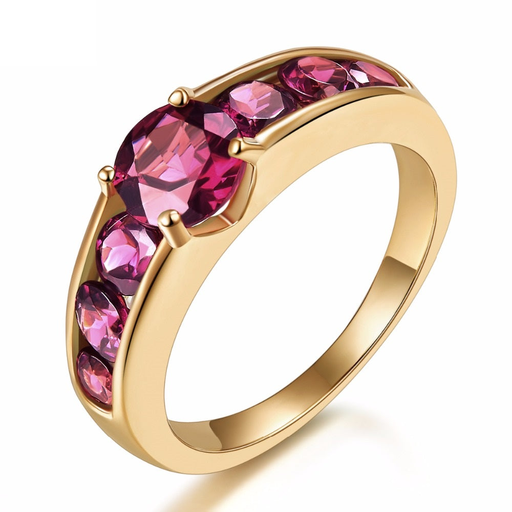 Fiery Rhodolite Garnet Wedding Ring Gold Plated Silver Jewelry