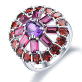Timeless Amethyst Rhodolite Garnet Engagement Ring Silver Jewelry