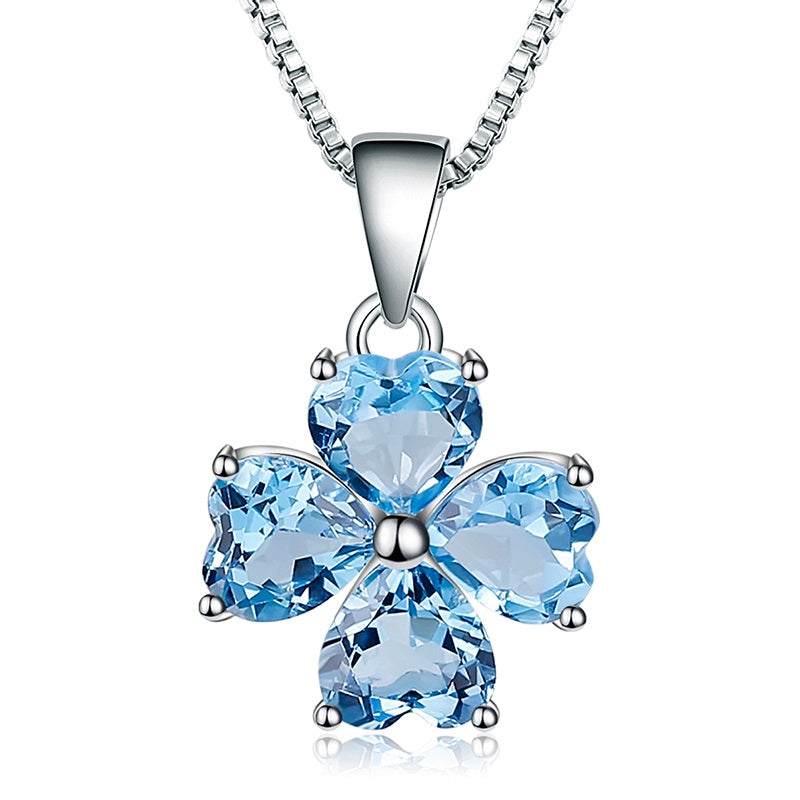 Lucky! 3.8ct Blue Topaz Clover Drop Pendant Silver Jewelry