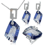 Gorgeous! 63.59Ct Mystic Quartz Set Necklace Earrings Ring Silver Jewelry