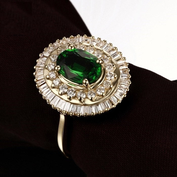 NEW Tsavorite  & 0.93ct Diamond Engagement Ring 14K Yellow Gold Jewelry