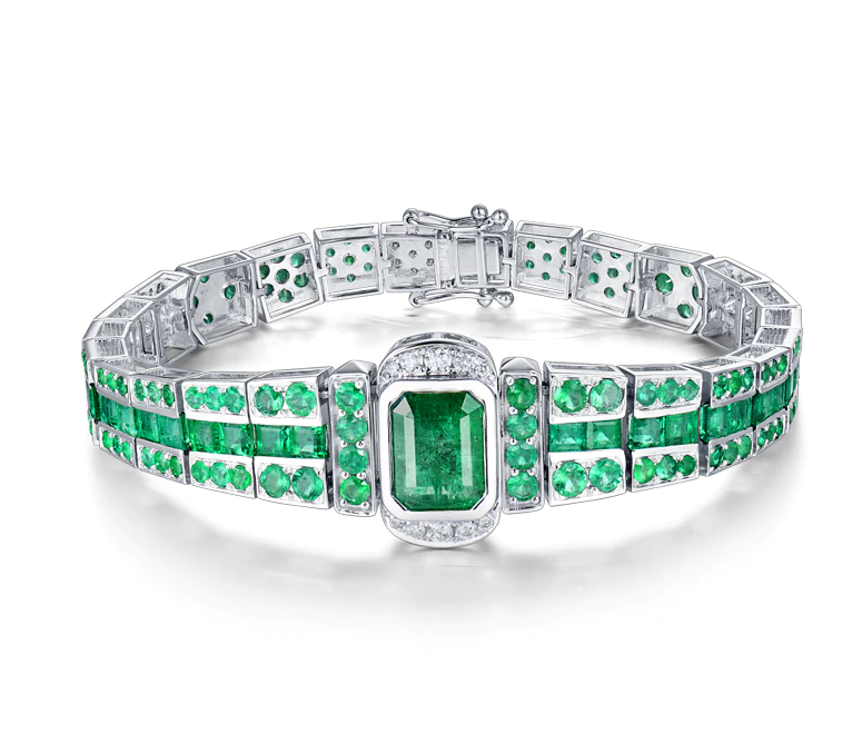 UNIQUE! 2.53ct Diamond & 10.82ct Emerald Bracelet 18K White Gold Jewelry