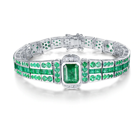 UNIQUE! Diamond & Emerald Bracelet 18K White Gold Unisex Jewelry