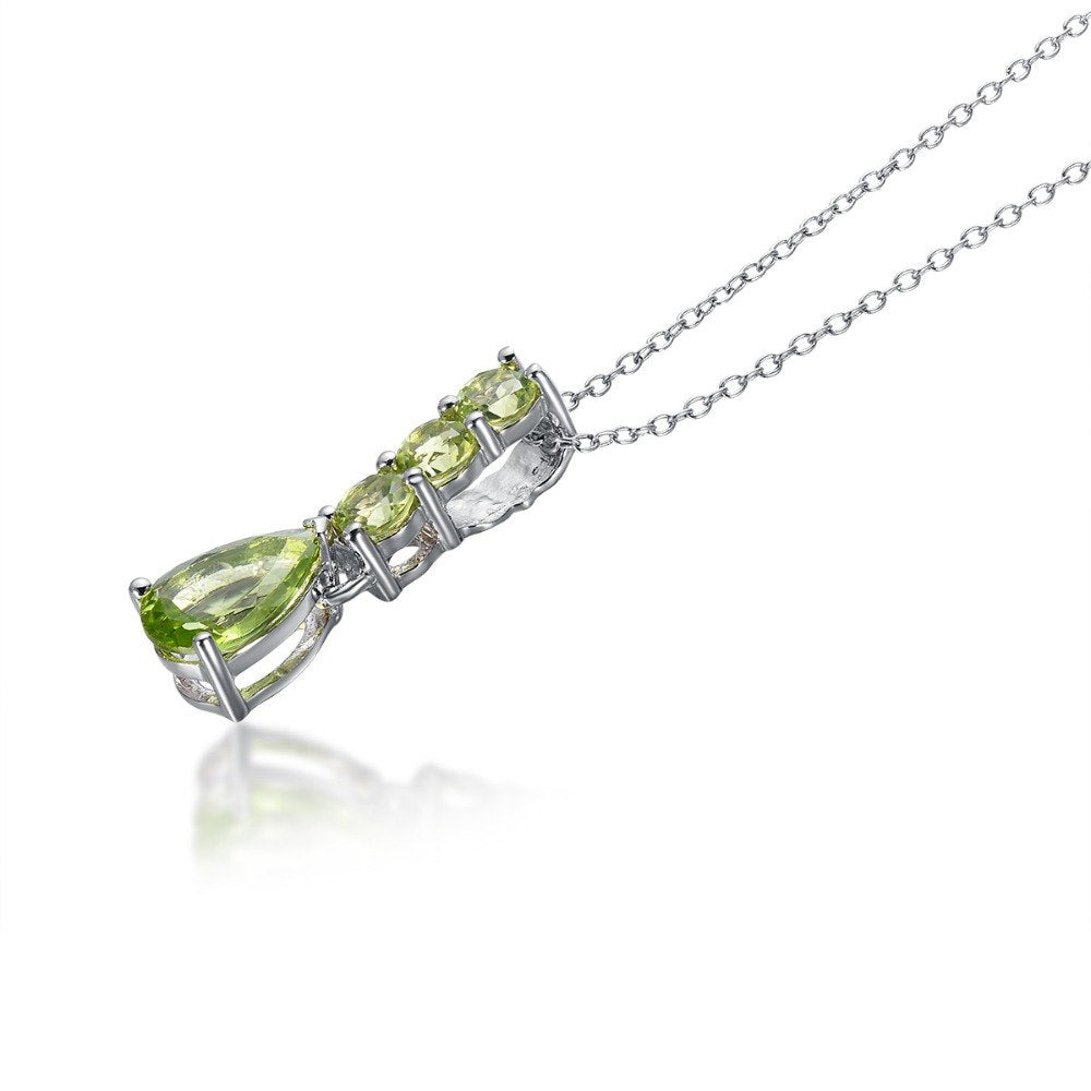 Elegant Peridot Silver Pendant Necklace Jewelry