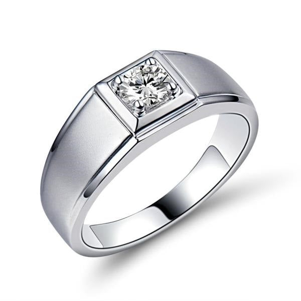 Top Quality 0.30ct Solitaire Men's Diamond Ring 18K Jewelry