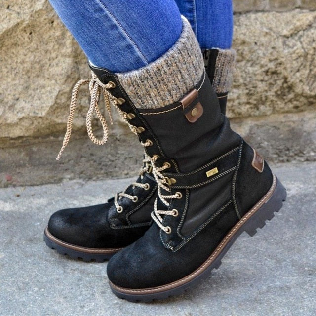 Winter Mid-Calf Shoes Knitted Women Boots