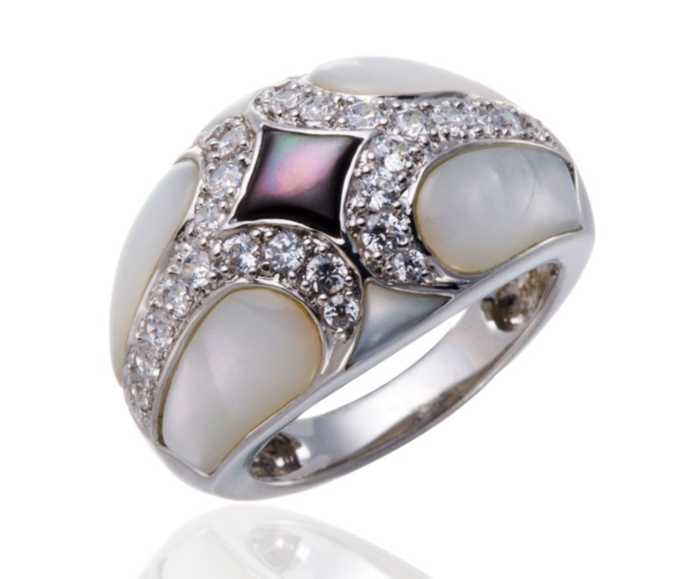 Unique Design Mother of Pearl Ring Silver Jewelry