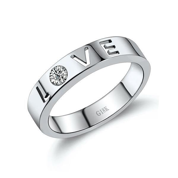 LOVE! Diamond Ring 18k White Gold Unisex Wedding Band