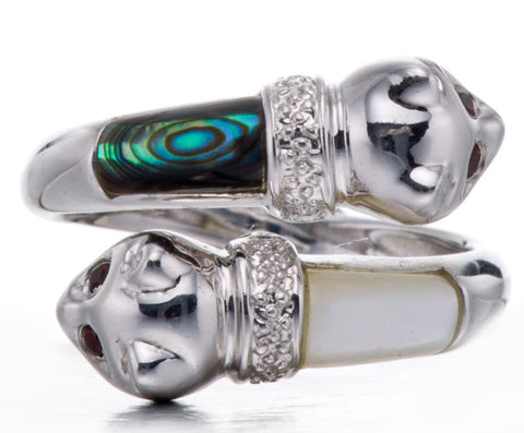 Stylish! Mother of Pearl, Abalone Shell & Garnet Ring Silver Jewelry