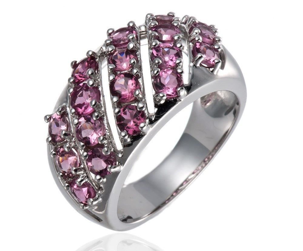 Genuine Silver Jewelry Pink Tourmaline Cluster Ring