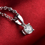 Dazzling! 0.31Ct Diamond Solitaire Pendant 18K White Gold Jewelry