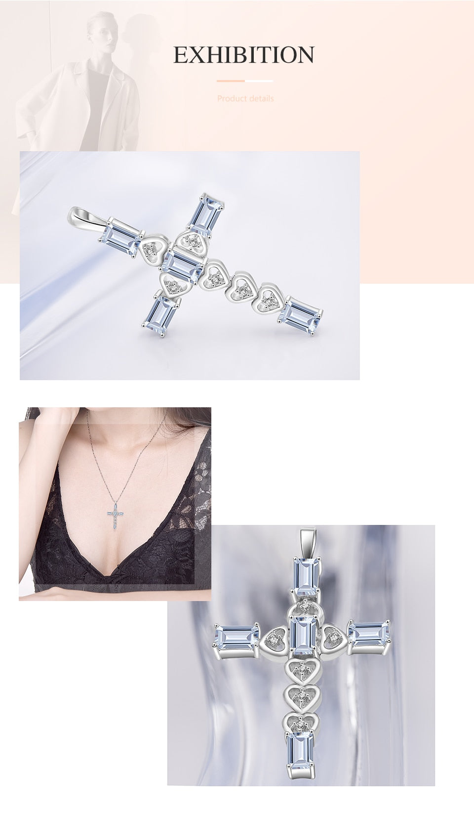 XMAS Aquamarine Cross Pendant Silver Heart Necklace