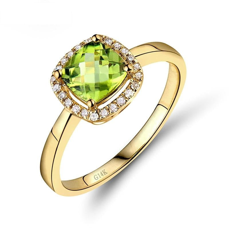 Amazing 14k Y Gold Cushion Cut Peridot Diamond Engagement Ring