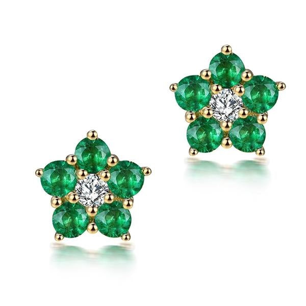 RADIANT Emerald Diamond Halo Earrings 18K Yellow Gold  Jewelry