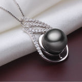 Exotic Natural Black 10-11mm Tahitian Pearl Pendant Necklace Silver Jewelry