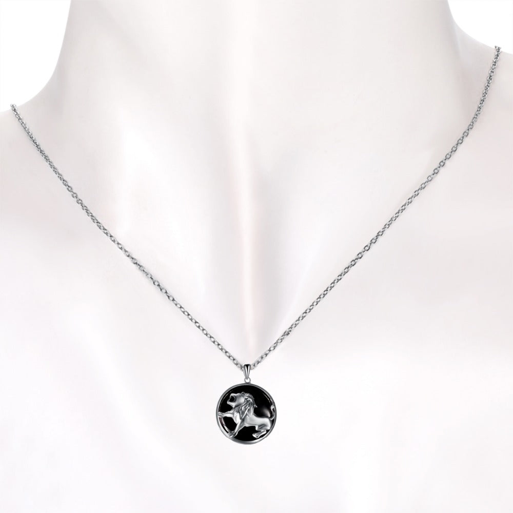 ZODIAC LEO Natural Black Jade 23mm Silver Pendant Necklace