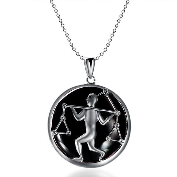 ZODIAC Libra Natural Black Jade 23mm Silver Pendant Necklace