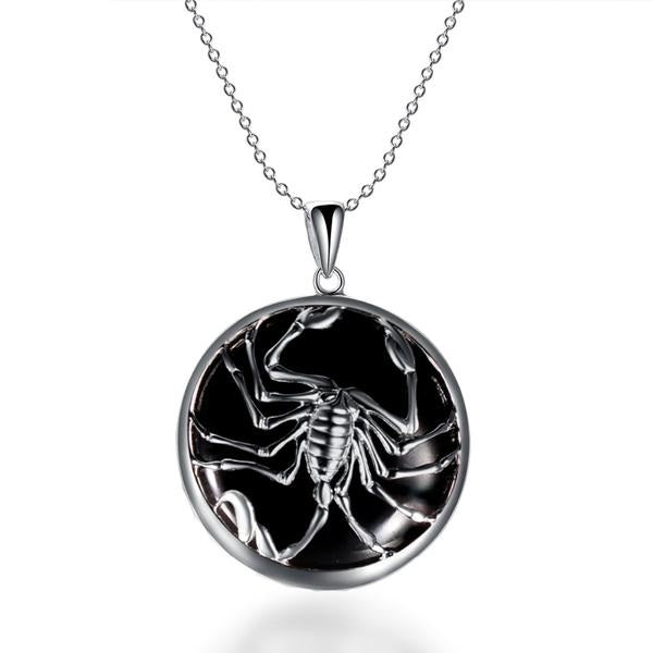 ZODIAC Scorpio Natural Black Jade 23mm Silver Pendant Necklace