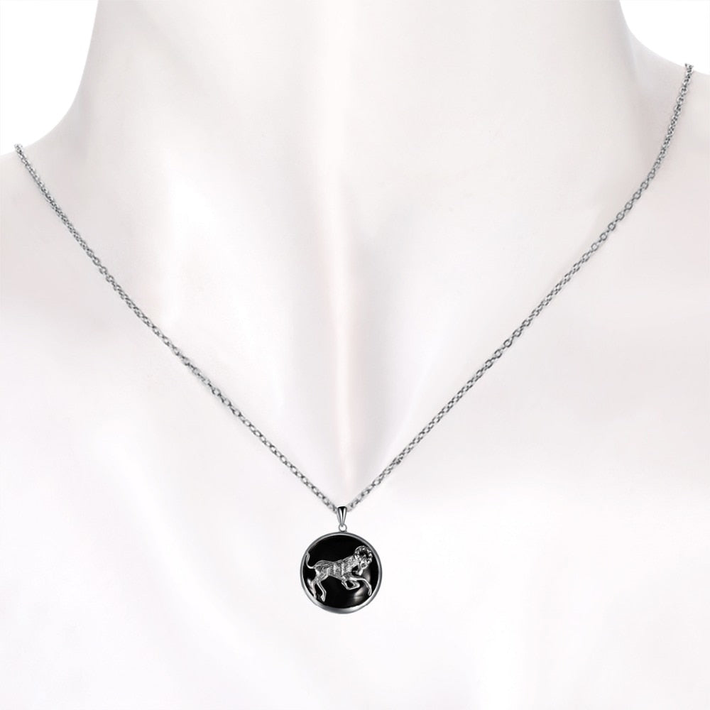 ZODIAC Aries Natural Black Jade 23mm Silver Pendant Necklace