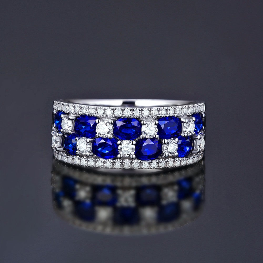NEW 1.88ct Sapphire & 0.65ct Diamond Ring 14k Gold Engagement Band