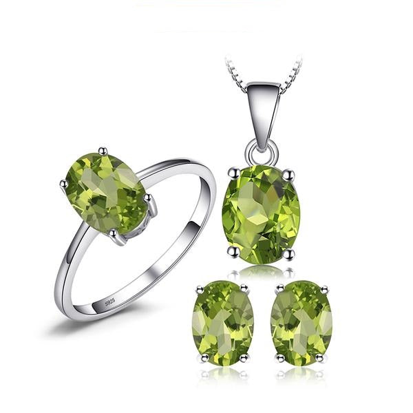 Elegant Peridot Earrings Pendant Necklace Silver Jewelry Set