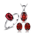 Fiery 5ct Oval  Garnet Ring Earrings Pendant Necklace 925 Silver Jewelry