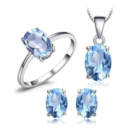 Royal 5.8ct Blue Topaz Earrings Pendant Necklace Silver Jewelry Set