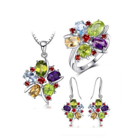 Unique! 10ct Amethyst Citrine Garnet Peridot Blue Topaz Silver Set