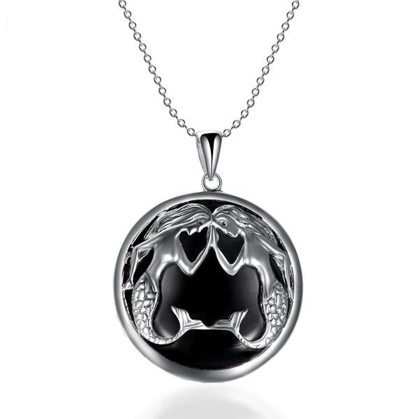 ZODIAC Pisces Natural Black Jade 23mm Silver Pendant Necklace