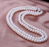 Lustrous! Pearl Necklace with Clasp 2 Rows Pearl Silver Jewelry
